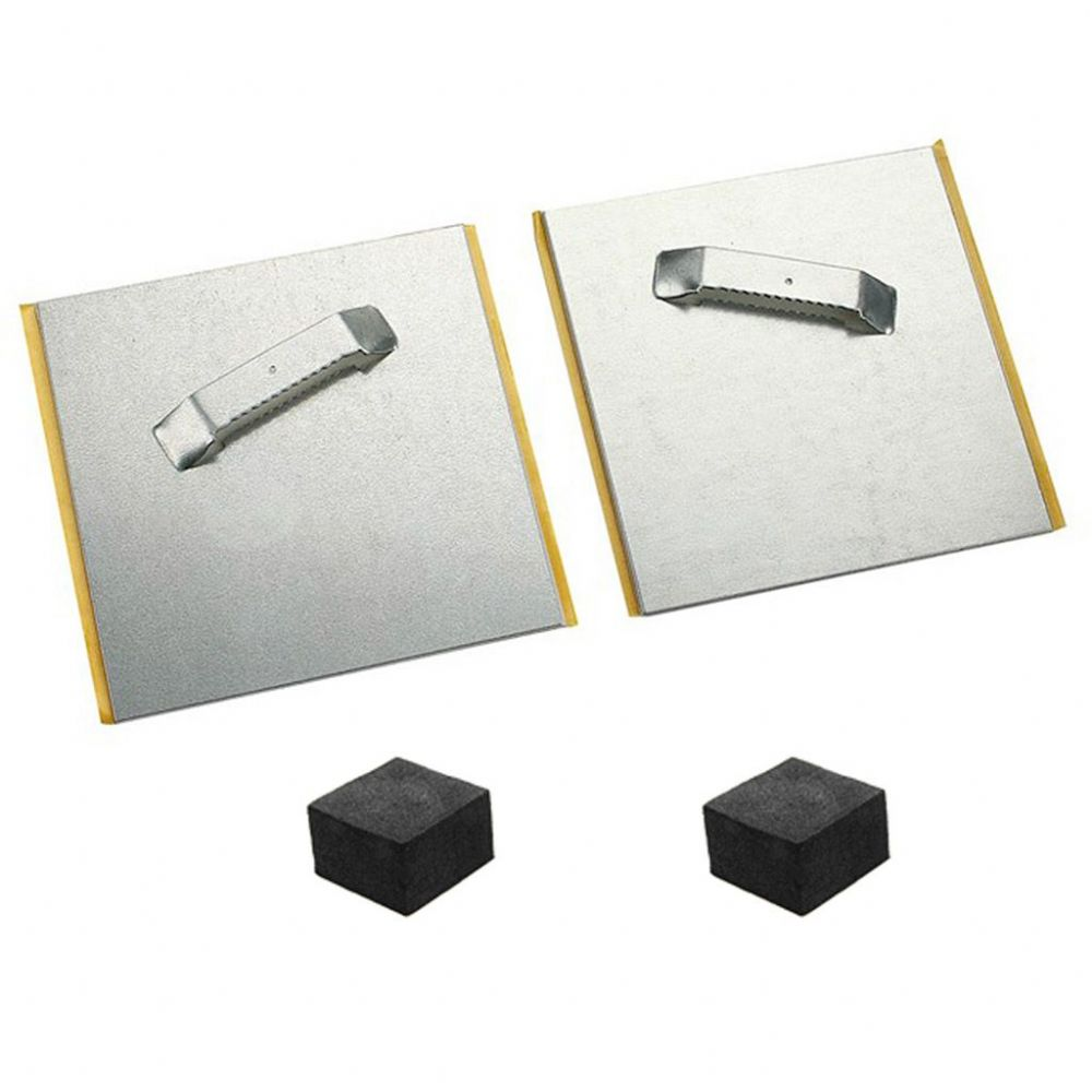 Self Adhesive ANGLED Steel Hanging Plates for Graphic Panels 80x80mm with Spacer Pads